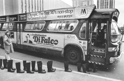 Eleanor Antin, '100 Boots at Columbus Circle', 1960