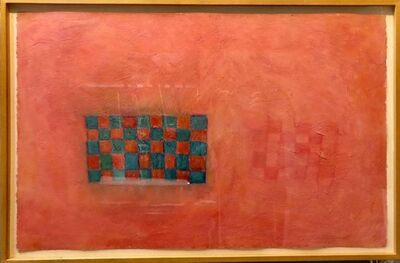 Donise English, 'Large Quirky Bold Encaustic Oil Painting with Grid Pattern Bright Color', 20th Century