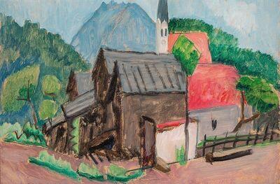 Gabriele Münter, 'Dörfliche Häusergruppe mit Kirchturm 'Village Houses with Steeple'', 1930