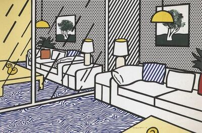 Roy Lichtenstein, 'Wallpaper with Blue Floor Interior', 1992