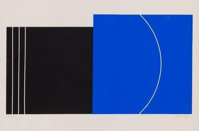 Jo Delahaut, 'composition in Blue and Black', 1975
