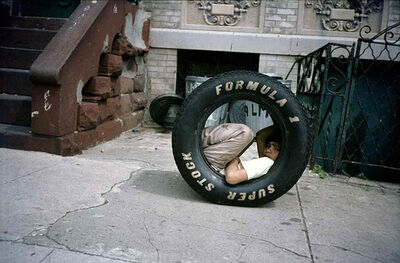 Meryl Meisler, 'Boy in a Tire', 1984