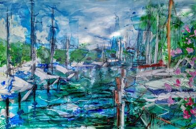 Norma de Saint Picman, 'Water paintings summer 2019 - plein air in situ paintings, Marina Portorose, Old marina', 2019