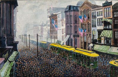 Anglo/American School, 20th Century, 'Labor Day, Main Street, Buffalo, New York'