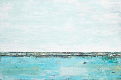 "John Schuyler, '""Cielo Blu 99"" Mixed media abstract diptych in aqua blues', 2019"