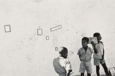 Burk Uzzle, 'Three Boys Against a Wall, Haiti'