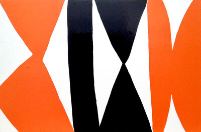Kim MacConnel, 'Enamel Panel #3 (white, orange, black)', 2004