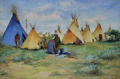 Joseph Henry Sharp, 'Camp with Blue Tepee', 1900