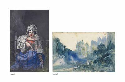 Eugenio Lucas Velázquez, 'A Maja on a balcony (recto), A landscape (verso)'