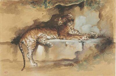 Rosa Bonheur, 'A tiger resting on a ledge'