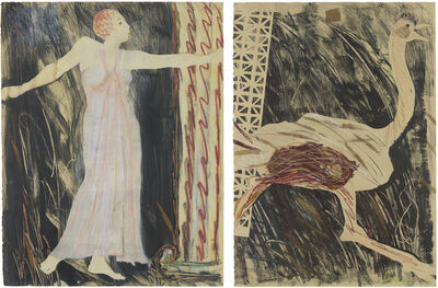 Emma Amos, 'Josephine and the Ostrich', 1984