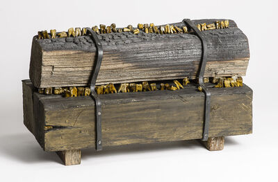 Elizabeth Jordan, 'Wood and shellac sculpture of teeth in burned wood planks: 'Arson'', 2014