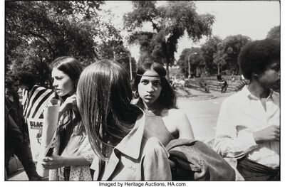 "Garry Winogrand, 'Woman in Group with Headband and Hoop Earrings in Park, from ""Women are Beautiful""', 1975"