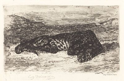 Eugène Delacroix, 'Tiger Sleeping in the Desert', ca. 1830