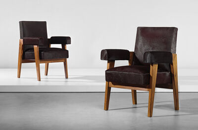 Le Corbusier, 'Two 'Advocate and Press' armchairs, model no. LC/PJ-SI-41-A, designed for the High Court, Chandigarh', circa 1955