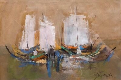 Motke Blum, 'Israeli Modernist Abstract Expressionist Gouache Painting Boats', Mid-20th Century