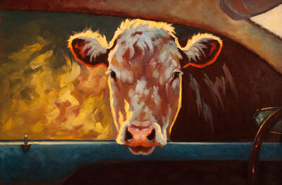 "Cheri Christensen, '""Going My Way III"" Oil painting of a brown cow peaking through a car window', 2018"
