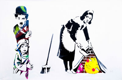 Utopia, 'Charlie Chaplin and the Kid Look at Banksy Sweeping It under the Carpet and Bubble', 2021