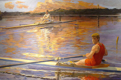 Anne Lyman Powers, 'Rowing at Sunset [Lake Waban, overlooking Wellesley College]', 1987