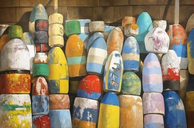 "Michel Brosseau, '""Crayola"" photorealistic oil painting of colorful buoys against shingles', 2019"