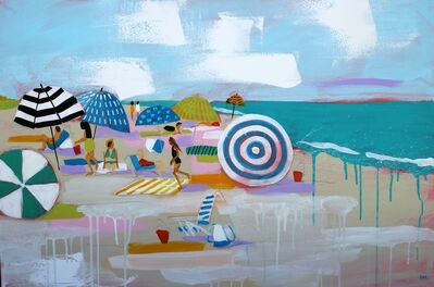 "Debbie Miller, '""Beach Love"" oil painting of colorful umbrellas on the beach', 2019"