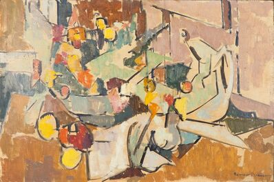 Herbert Barnett, 'Abstract Still Life with Pitcher, Bowl of Flowers, Creamer'