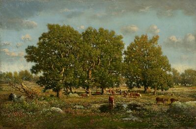 Théodore Rousseau, 'Landscape with Cows and Oaks', ca. 1860