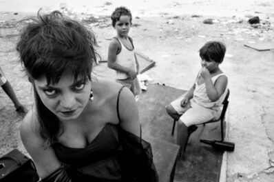Letizia Battaglia, 'Serena performs for the children, Capo, Palermo', 1990