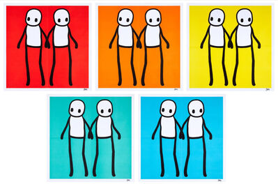 Stik, 'Holding Hands (Red, Orange, Yellow, Blue & Teal)', 2020