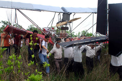 Cai Guoqiang 蔡国强, 'Da Vincis do Povo, China Research (Xiong Tianhua's airplane after its first test run)', April 2008