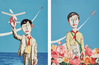 Zeng Fanzhi 曾梵志, 'Mask Series: two plates (Man Holding a Plane; and Plane and Flowers)', 2006