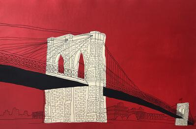 "Marz Junior, '""NYC Brooklyn Bridge""- red horizontal framed', 2018"