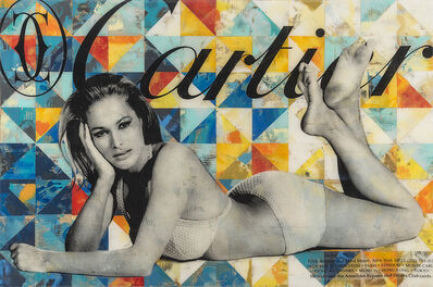 """Robert Mars, '""""Somewhere under Heaven"""" - American Dreams, iconic, culture, history, pop culture, pop, popexpressionism, neopop, americana, Hollywood, fashion, celebrity, brand names, collages, resin, Ursula Andress, Bond Girl, model', 2020"""