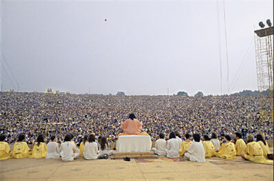 Elliott Landy, 'Swami Satchidananda, Morning Prayer, Woodstock', 1969