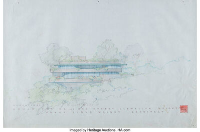 Frank Lloyd Wright, 'Rendered Elavations of the Mr. & Mrs. Robert Llewellyn Wright House (two works)', 1953
