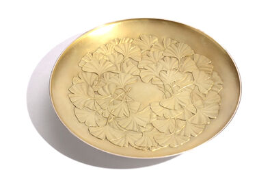 Ryoichi Izumi, 'Japanese ginkgo design Silver tray'