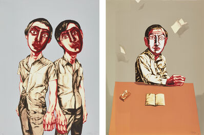 Zeng Fanzhi 曾梵志, 'Mask Series: two plates (Two Men; and Sitting Man)', 2006