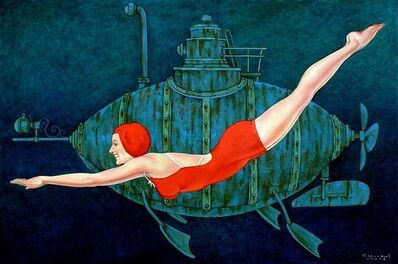 "Fred Calleri, '""Busby Berkley"" Woman in Red Bathing Suit Swimming in Deep Green water with Submarine', 2010-2018"