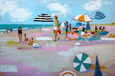 "Debbie Miller, '""Summer Lovin'"" oil painting of colorful umbrellas on the beach', 2019"