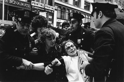 Fred McDarrah, 'Demonstrators and police during the Democratic National Convention * Feminist Ti Grace Atkinson, protesting Richard Nixon's War in Vietnam'