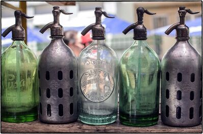 Charles Jacobs, 'Buenos Aires Seltzer Bottles - Silver & Green '