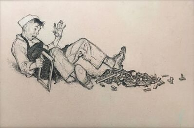 Norman Rockwell, 'Printers Apprentice Takes a Tumble', 1946
