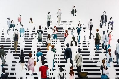 "Martta García Ramo, '""Babel"" oil painting of pedestrians walking on a black and white crosswalk', 2019"