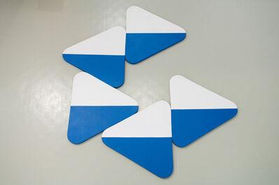 Leon Polk Smith, 'horizontal stripes - blue white', 1973