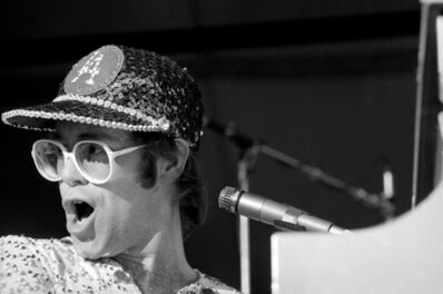 Terry O'Neill, 'Elton John Singing at Dodger Stadium', 1975