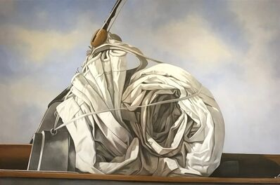 """Michel Brosseau, '""""Snail Sail"""" photorealistic oil painting of a rolled sail with blue sky and clouds behind', 2018"""