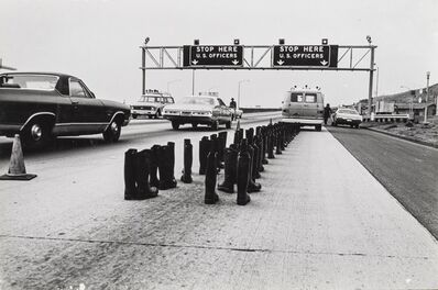 Eleanor Antin, '100 Boots At the Checkpoint, San Onofre California', 1972