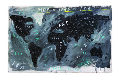 Oliver Jeffers, 'Map of Land and Sea with Borders', 2018