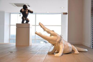 Richard Orlinski, 'Glossy White Crocodile with collar '