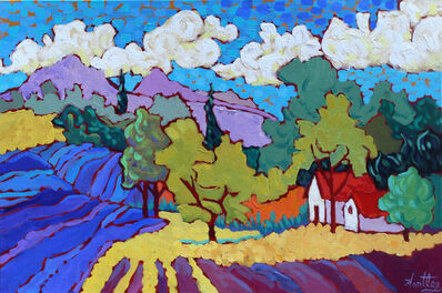 """Claudia Hartley, '""""Living Among Blue and Gold Fields""""', 2017"""